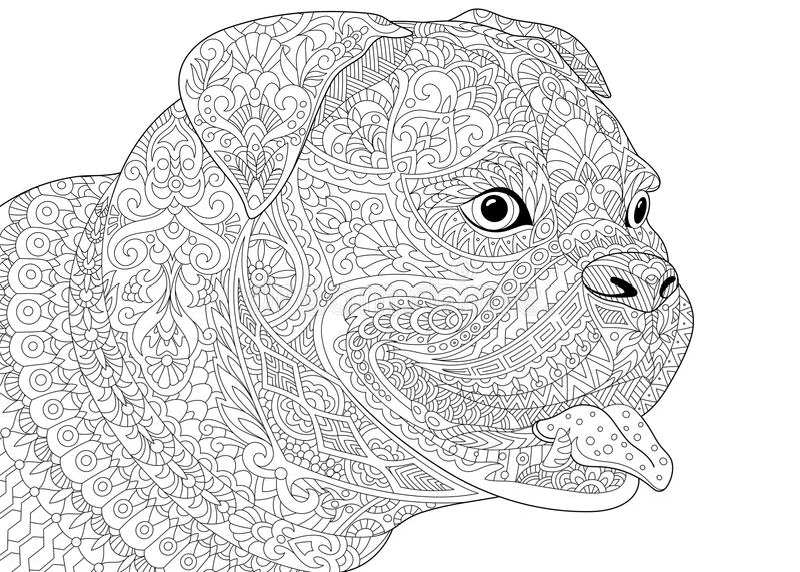 Zentangle stylized german boxer dog stock illustration