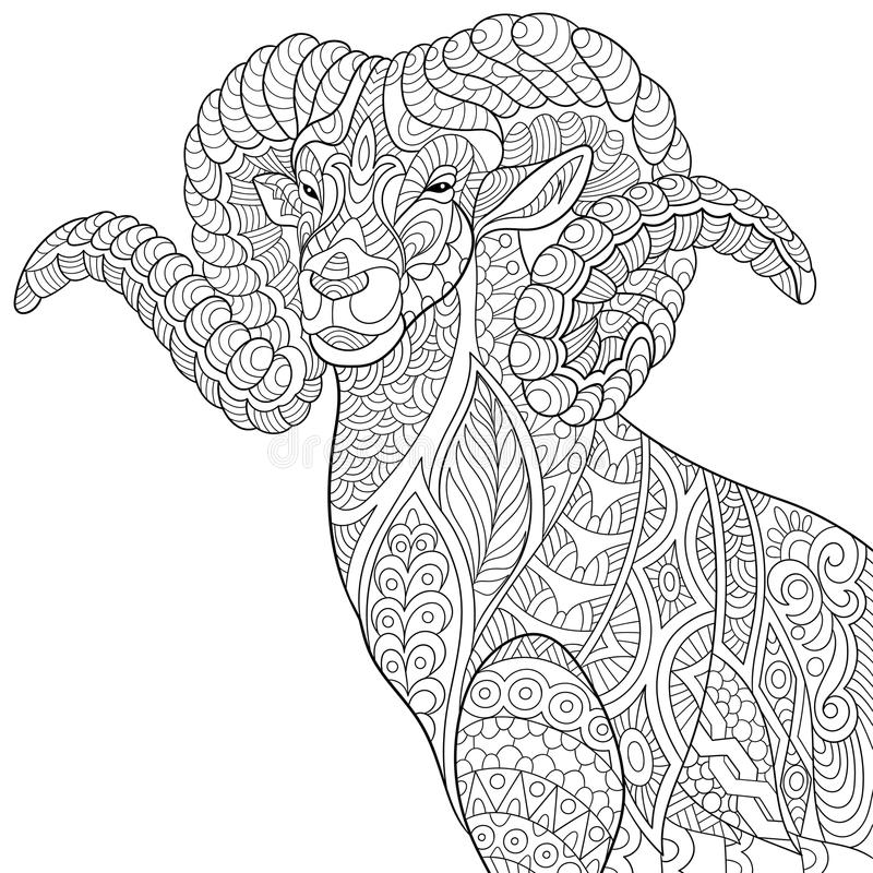Zentangle stylized goat stock vector illustration of folk for Capricorn coloring pages
