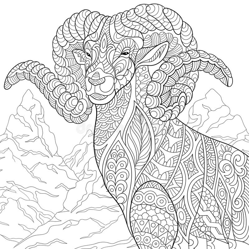 Volwassen Kleurplaat Wolf Zentangle Stylized Goat Stock Vector Illustration Of