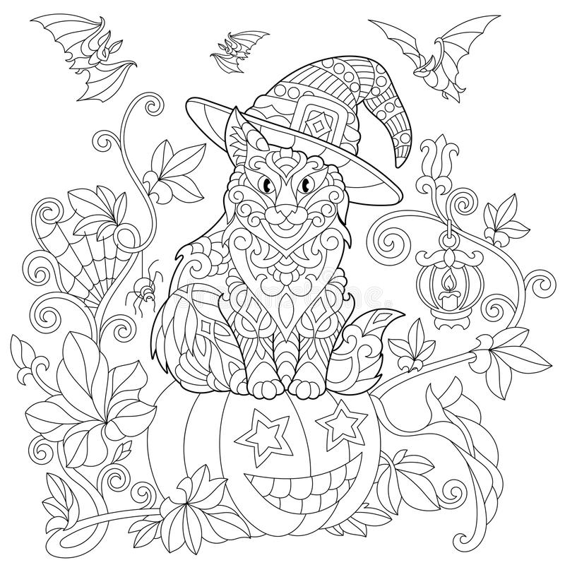 Download Zentangle Stylized Halloween Cat Stock Vector