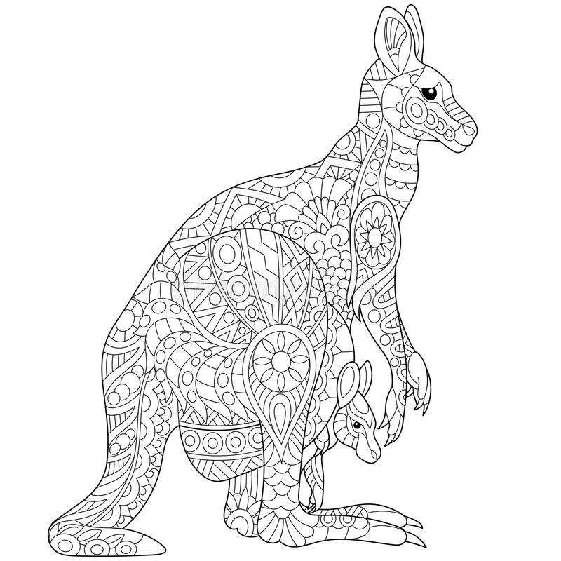 Zentangle stylized kangaroo. Stylized australian kangaroo family - mother and her young cub. Freehand sketch for adult anti stress coloring book page with doodle stock illustration
