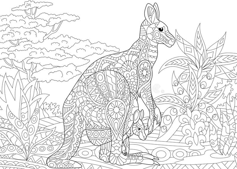 Zentangle stylized kangaroo. Stylized australian kangaroo family - mother and her young cub in jungle landscape. Freehand sketch for adult anti stress coloring stock illustration