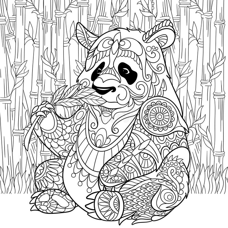 Zentangle stylized panda. Zentangle stylized cartoon panda sitting among bamboo stems. Sketch for adult antistress coloring page. Hand drawn doodle, zentangle