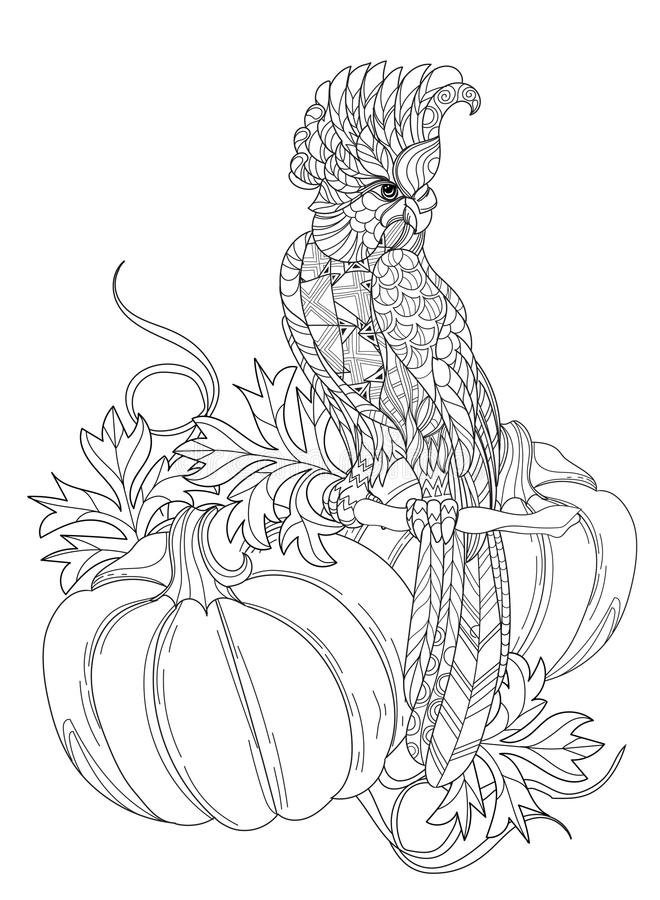 Zentangle stylized parrot.Hand drawn vector illustration