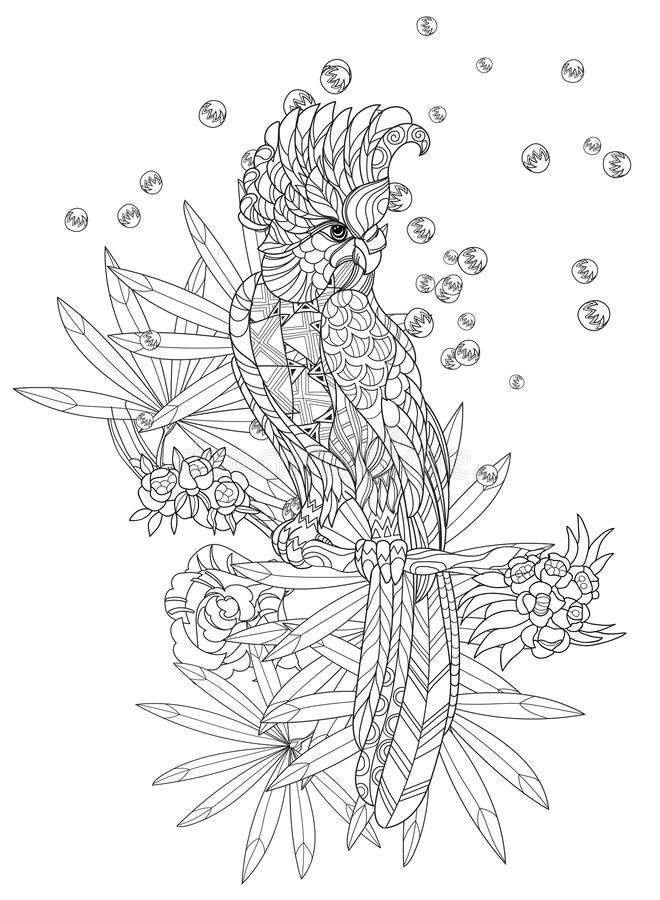 Zentangle stylized parrot.Hand drawn royalty free illustration