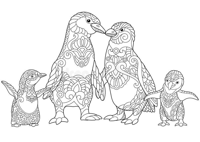 Zentangle stylized penguins family stock vector for Penguin adult coloring pages