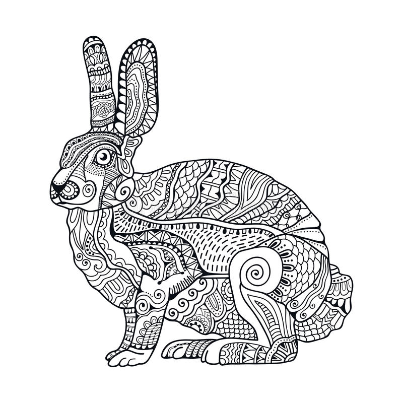 Zentangle stylized rabbit. Hand Drawn vintage doodle vector illustration for Easter. Sketch for tattoo, animal collection. Black and white royalty free illustration