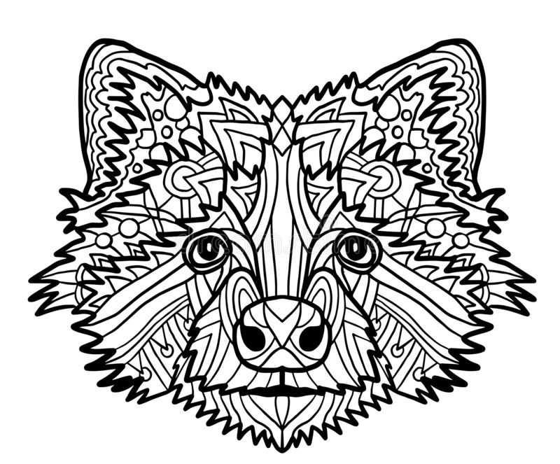 Zentangle stylized vector of badger head. Zen art drawing. Illustration isolated on white. Doodle ornate print fits as vector illustration