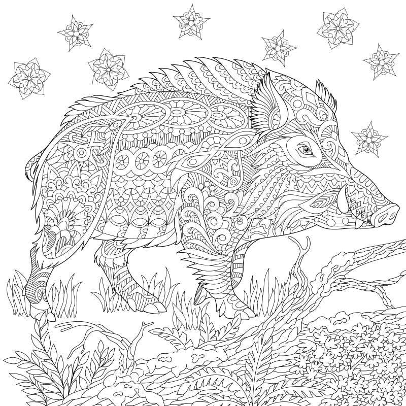 Zentangle stylized wild boar stock illustration