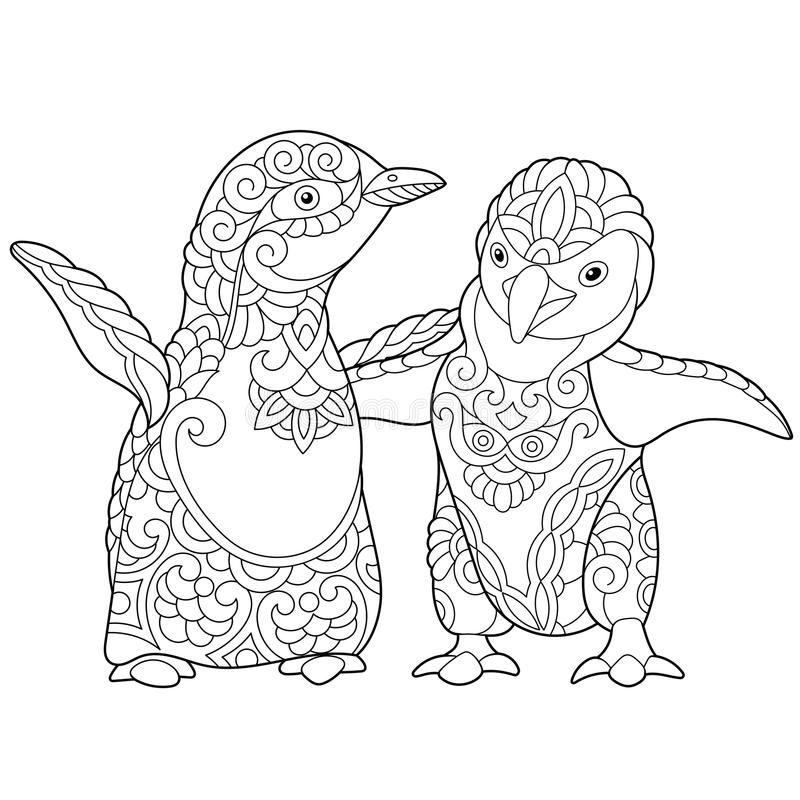zentangle stylized young penguins coloring page emperor isolated white background freehand sketch drawing adult