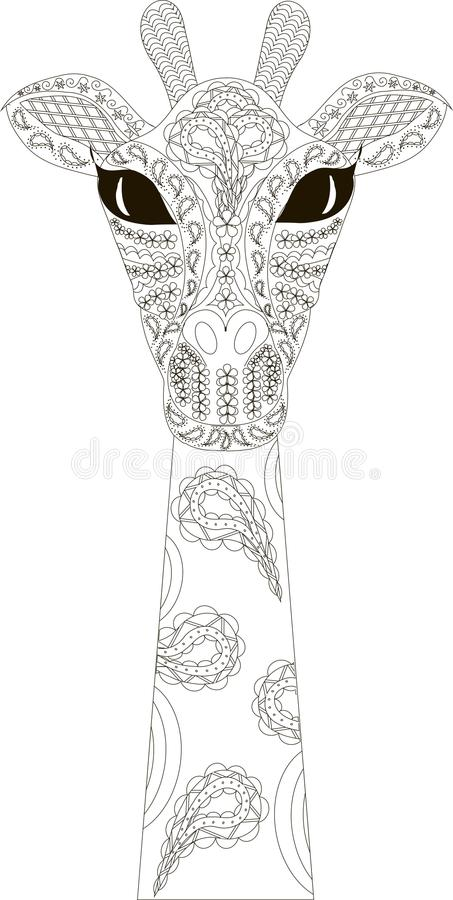 Zentangle stylizował żyrafy czarny i biały rękę rysującą royalty ilustracja