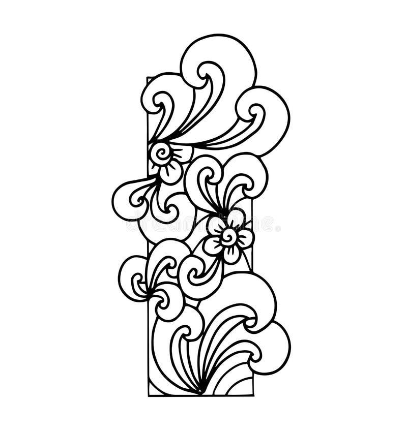Zentangle stylizował abecadło List Ja w doodle stylu ilustracji
