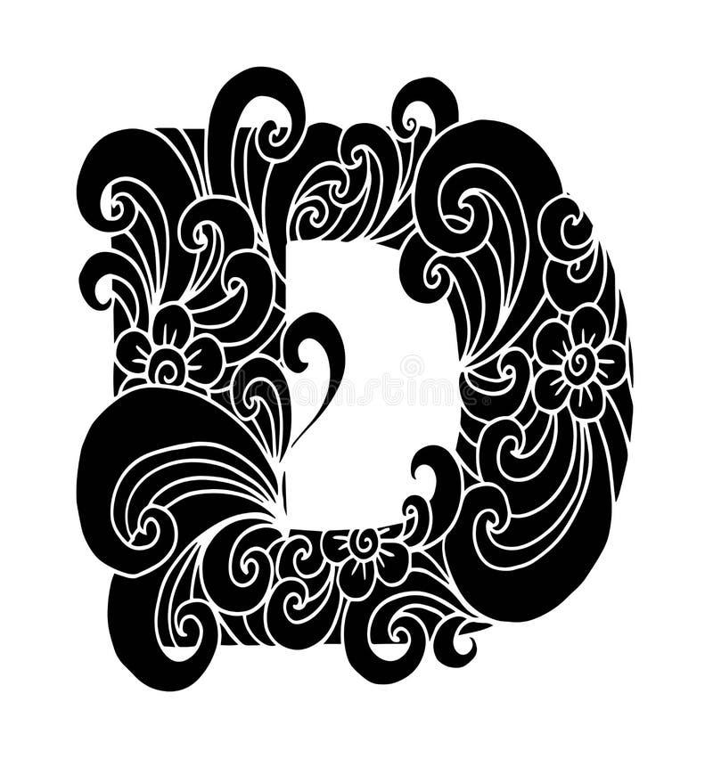 Zentangle stylizował abecadło Listowy d w doodle stylu Ręka rysująca nakreślenie chrzcielnica ilustracji