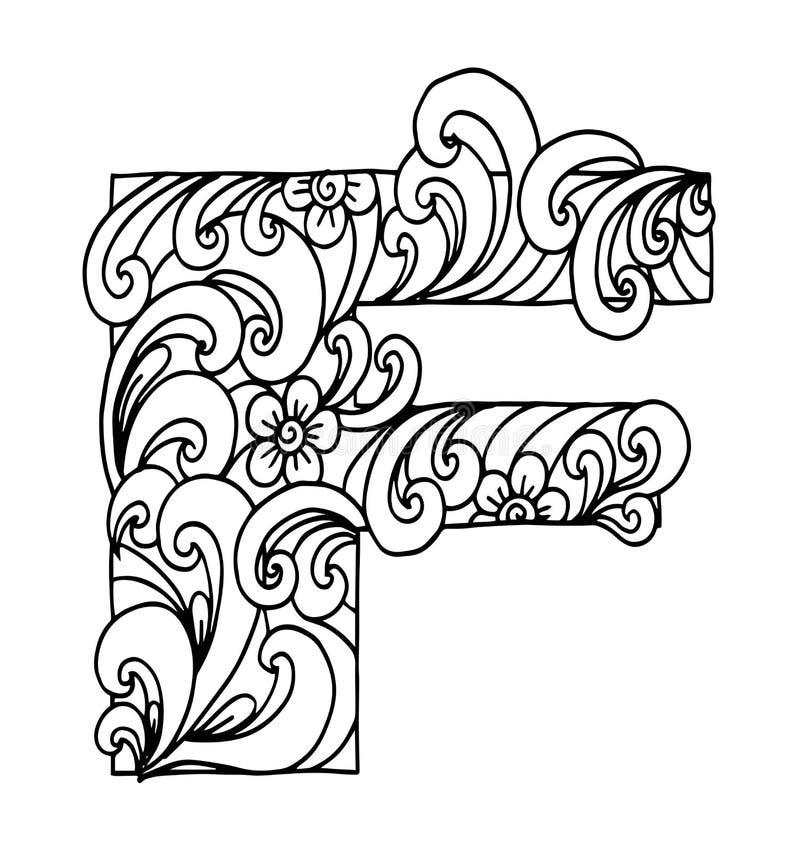 Zentangle stylizował abecadło Listowy F w doodle stylu Ręka rysująca nakreślenie chrzcielnica ilustracji