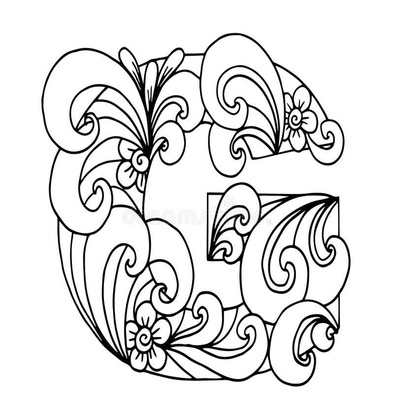 Zentangle stylizował abecadło Listowy G w doodle stylu Ręka rysująca nakreślenie chrzcielnica royalty ilustracja