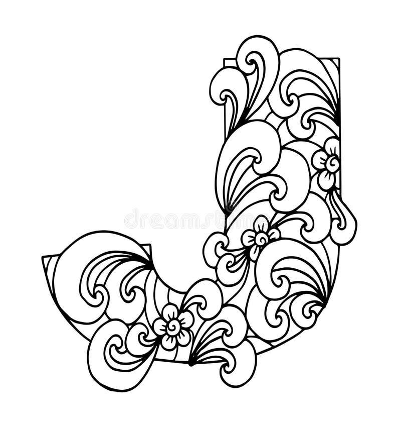 Zentangle stylizował abecadło Listowy J w doodle stylu royalty ilustracja