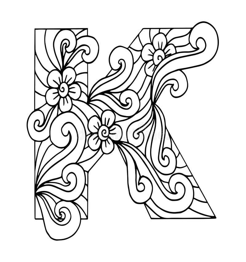 Zentangle stylizował abecadło Listowy K w doodle stylu ilustracji