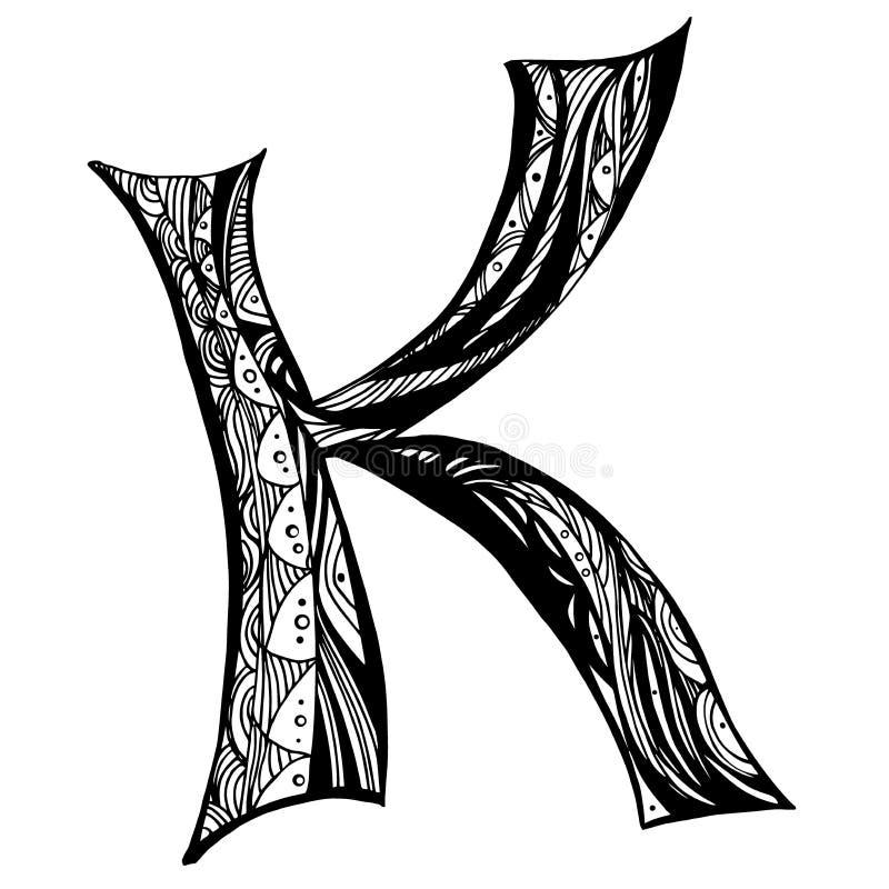 Zentangle stylizował abecadło Listowy K w doodle stylu Ręka rysująca nakreślenie chrzcielnica, wektorowa ilustracja ilustracji