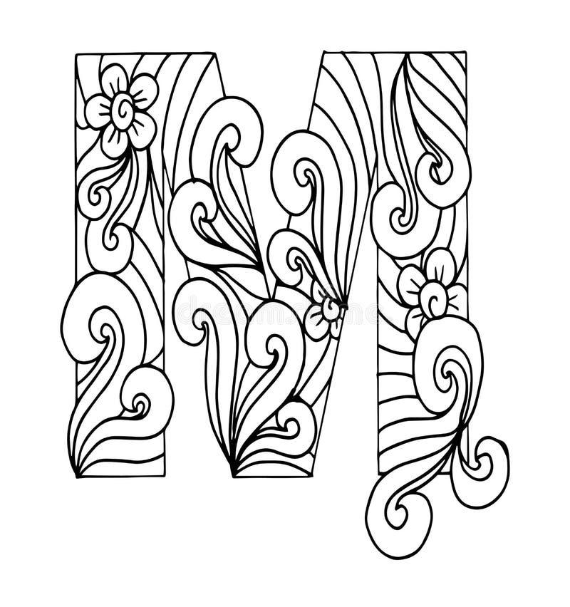 Zentangle stylizował abecadło Listowy M w doodle stylu ilustracji