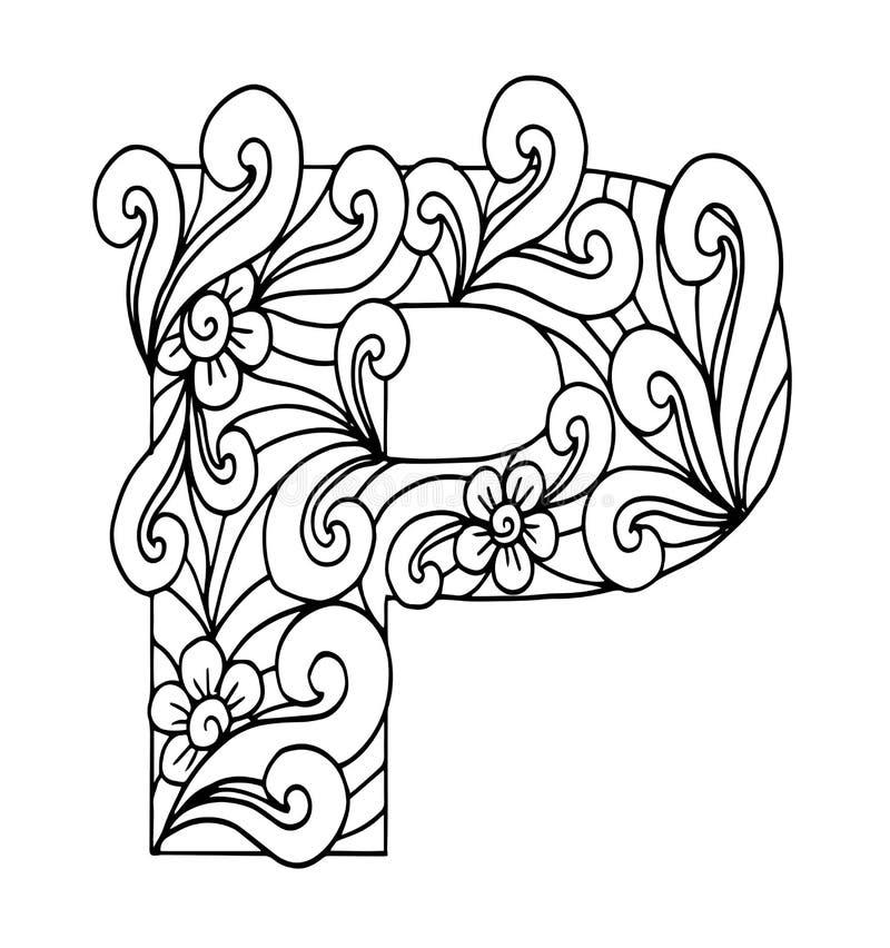 Zentangle stylizował abecadło Listowy P w doodle stylu royalty ilustracja
