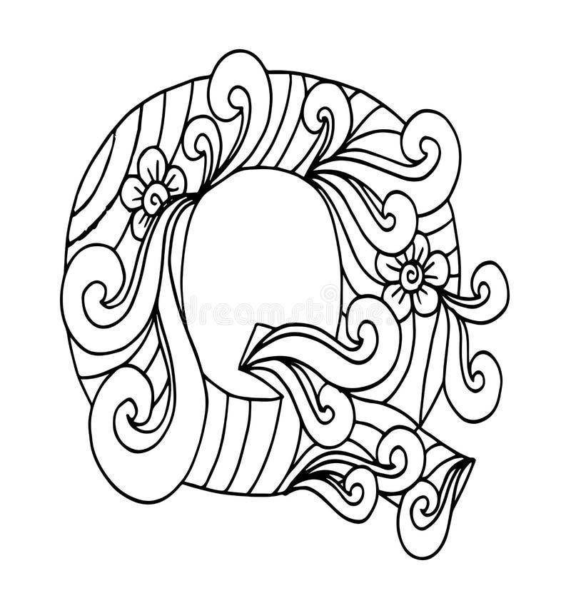 Zentangle stylizował abecadło Listowy Q w doodle stylu royalty ilustracja