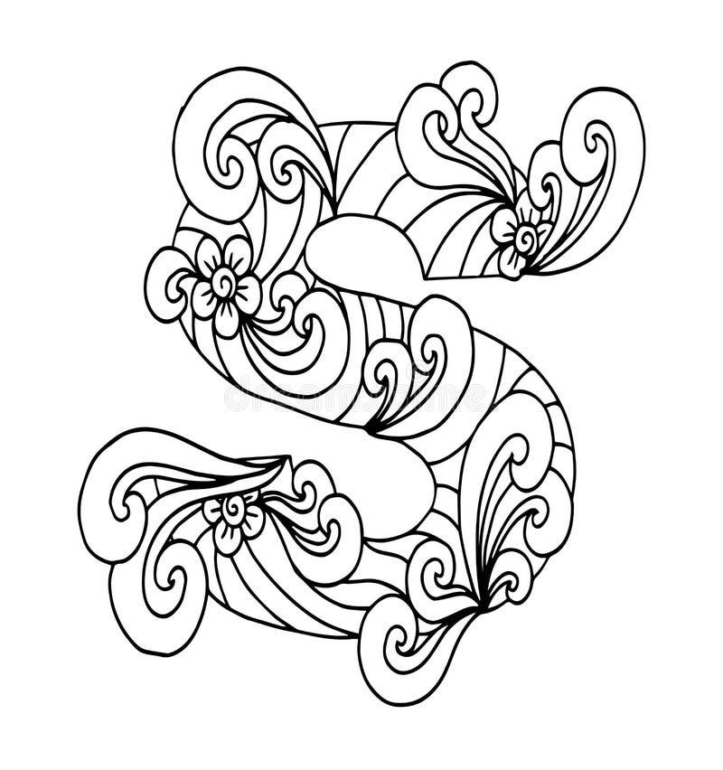 Zentangle stylizował abecadło Listowy S w doodle stylu Ręka rysująca nakreślenie chrzcielnica ilustracji