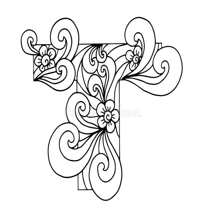 Zentangle stylizował abecadło Listowy T w doodle stylu Ręka rysująca nakreślenie chrzcielnica royalty ilustracja