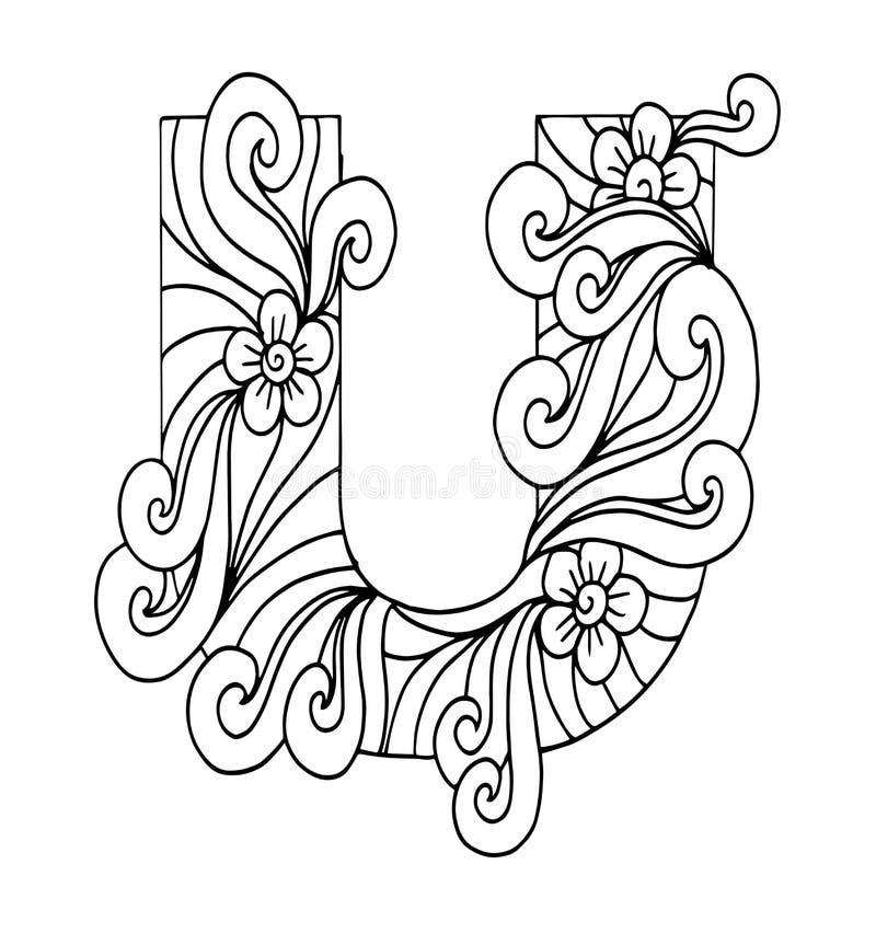 Zentangle stylizował abecadło Listowy U w doodle stylu Ręka rysująca nakreślenie chrzcielnica ilustracja wektor