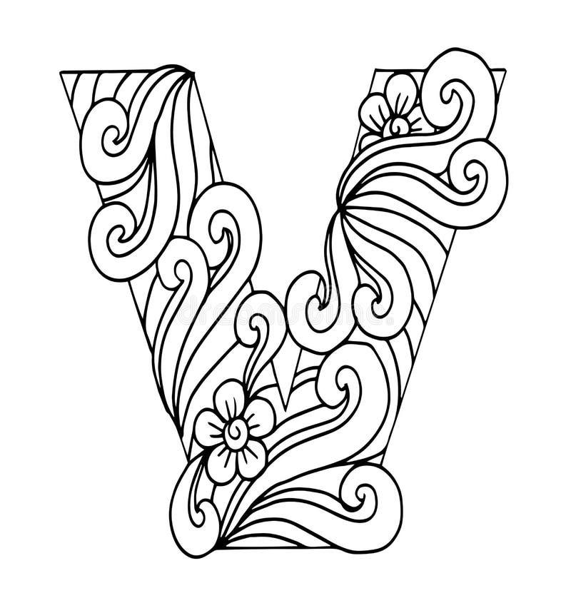 Zentangle stylizował abecadło Listowy V w doodle stylu Ręka rysująca nakreślenie chrzcielnica royalty ilustracja