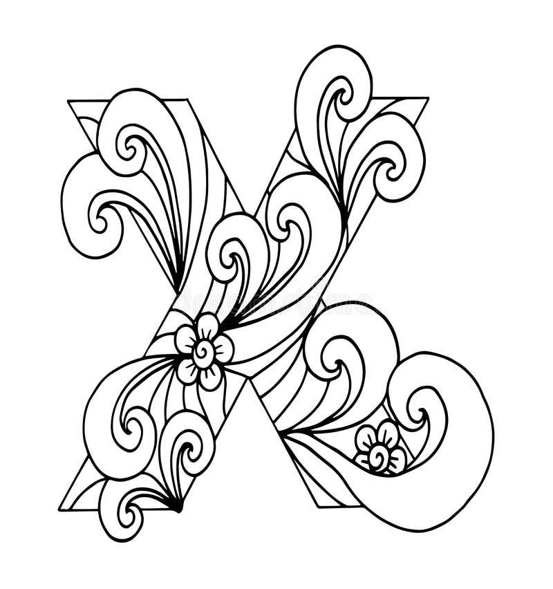 Zentangle stylizował abecadło Listowy X w doodle stylu Ręka rysująca nakreślenie chrzcielnica royalty ilustracja