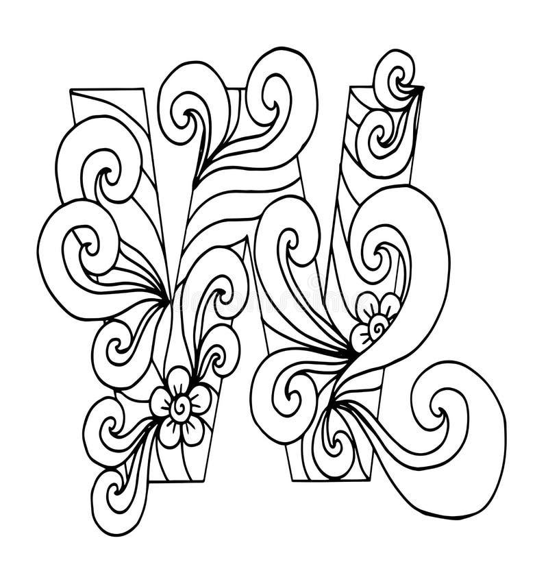 Zentangle stylizował abecadło Listowy W w doodle stylu Ręka rysująca nakreślenie chrzcielnica ilustracja wektor