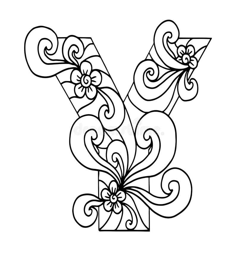 Zentangle stylizował abecadło Listowy Y w doodle stylu Ręka rysująca nakreślenie chrzcielnica ilustracji