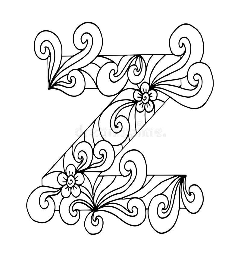 Zentangle stylizował abecadło Listowy Z w doodle stylu Ręka rysująca nakreślenie chrzcielnica royalty ilustracja