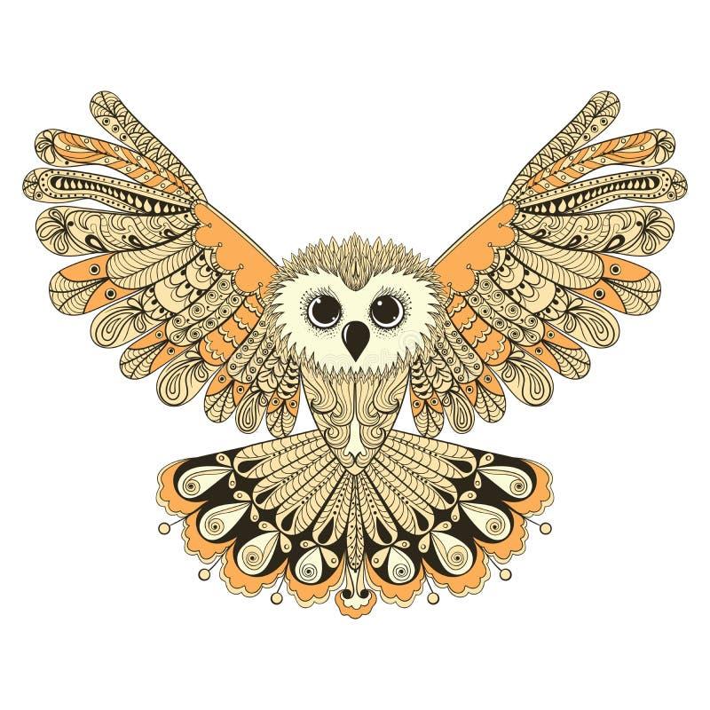 Zentangle stylizował Brown latającej sowy Ręka rysujący wektorowy illustrat ilustracji