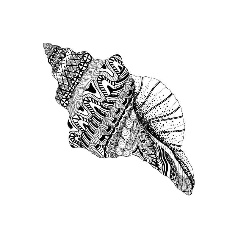 Zentangle stylizował czarnego dennego cockleshell Ręka Rysujący nadwodny doo ilustracji