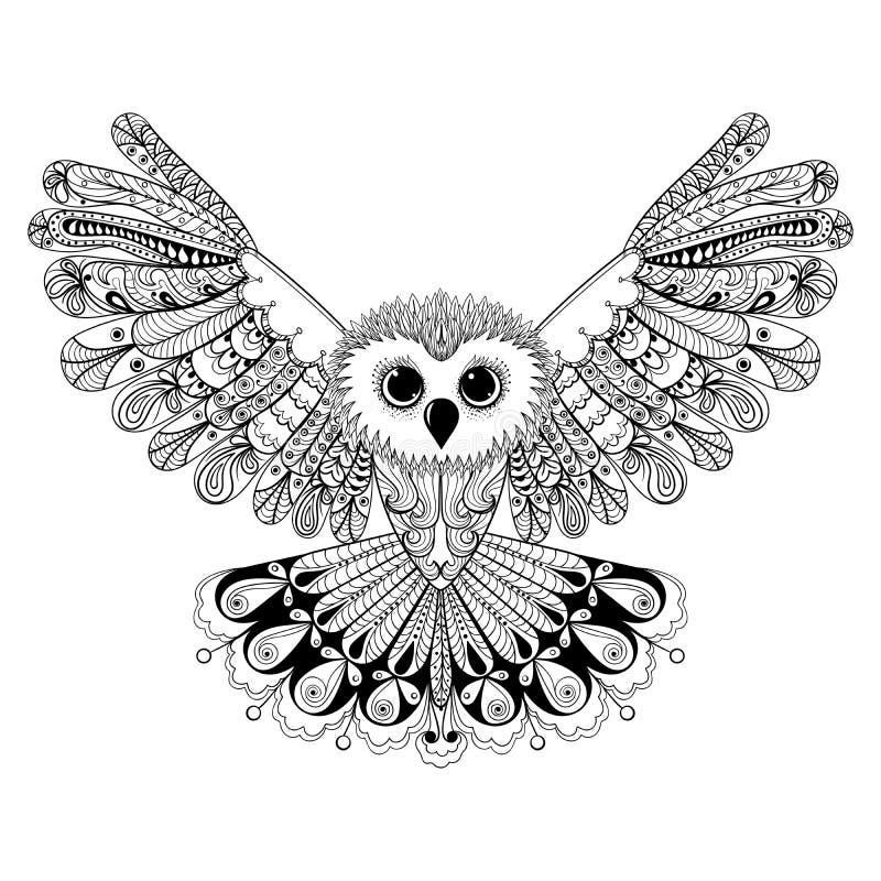 Zentangle stylizował czarnej sowy Ręka Rysujący wektorowy ilustraci iso royalty ilustracja