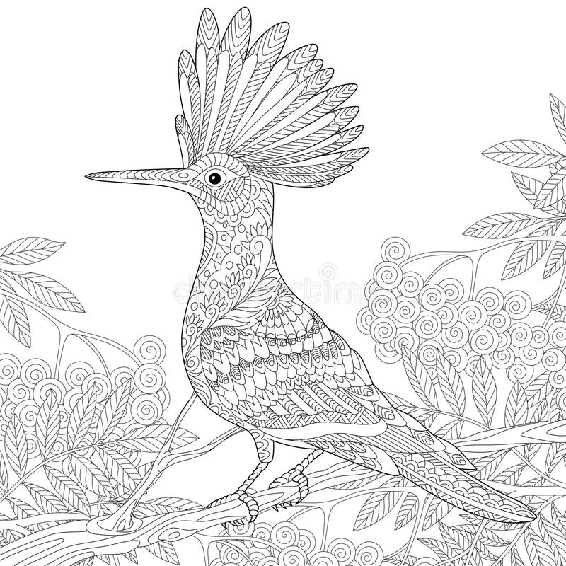Zentangle stylizował dudka ilustracja wektor