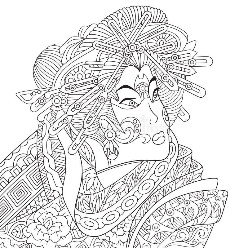 Zentangle stylizował gejszy kobiety royalty ilustracja