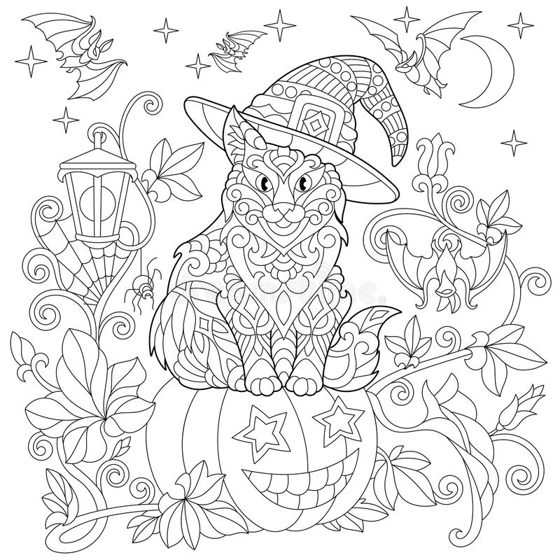 Zentangle stylizował Halloween kota royalty ilustracja