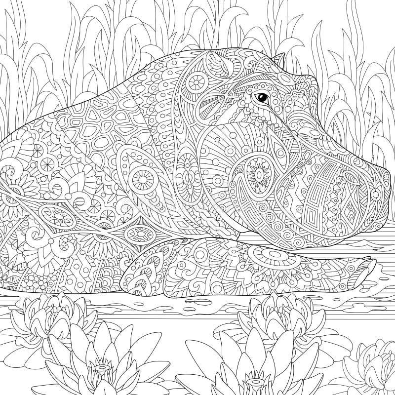 Zentangle stylizował hipopotama (hipopotam) ilustracja wektor