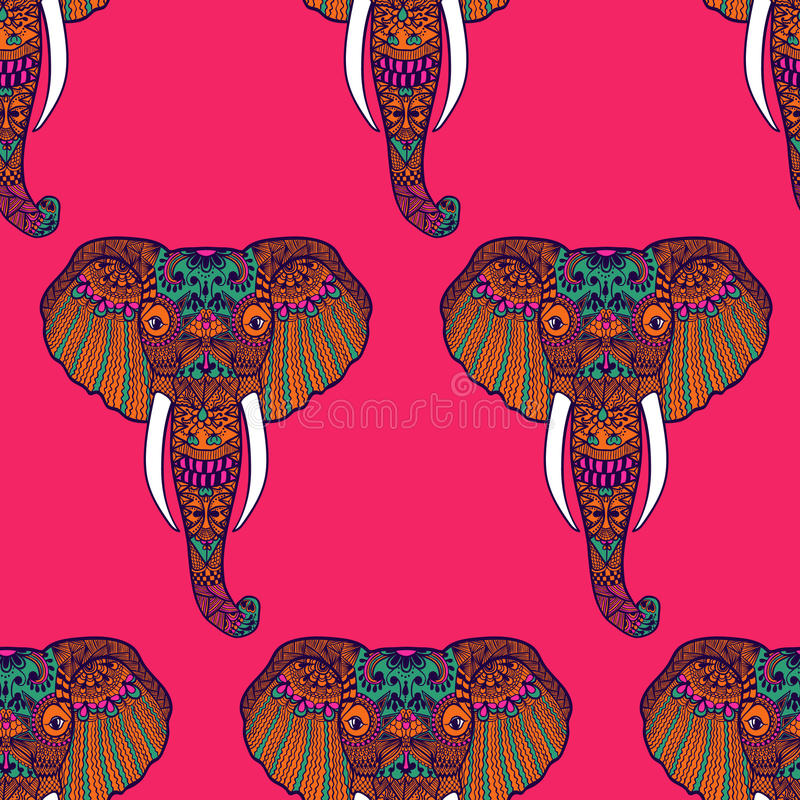 Zentangle stylizował Indiańskiego słonia ręka patroszona ilustracja wektor