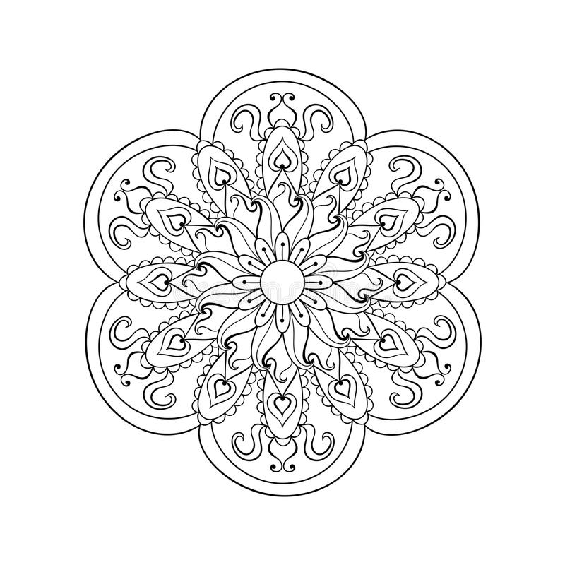 Zentangle stylizował języka arabskiego, Indiański mandala Ręka rysujący rocznik ilustracji