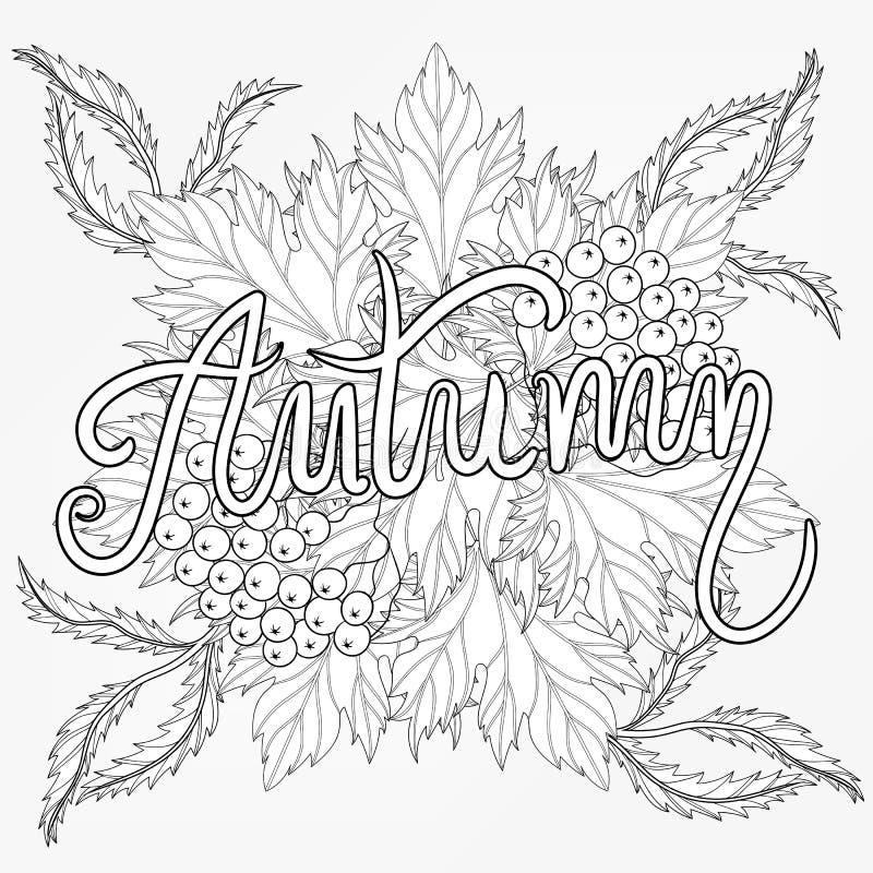 Zentangle stylizował jesieni typograficznego tło z klonowym leav ilustracji