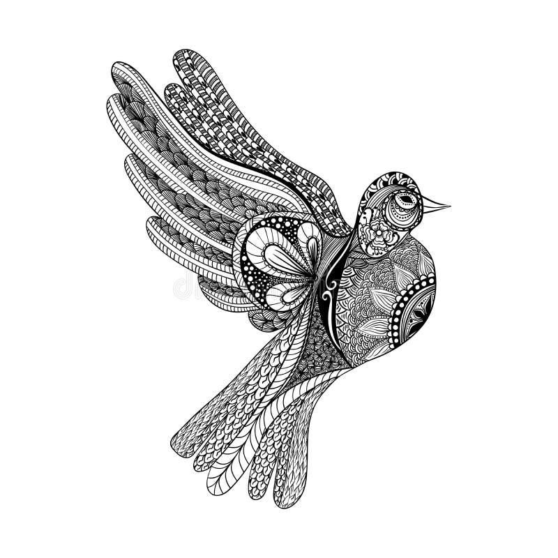Zentangle stylizował kwiecistego gołębia dla pokoju dnia Ręka Rysująca gołąbka royalty ilustracja