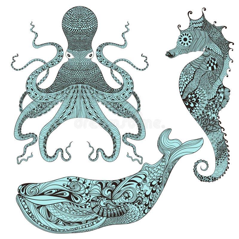 Zentangle stylizował ośmiornicy, wieloryba i Dennego konia, Ręka Rysująca koronka ilustracja wektor