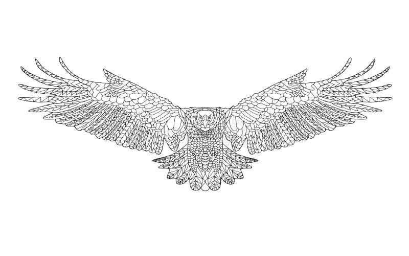 Zentangle stylizował orła Nakreślenie dla barwić stronę royalty ilustracja