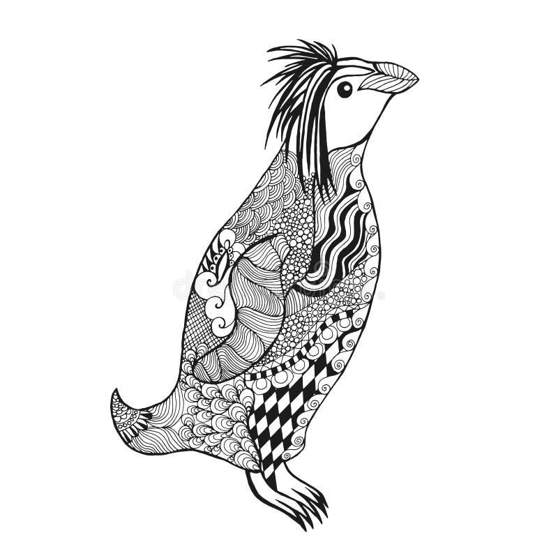 Zentangle stylizował pingwinu ilustracji