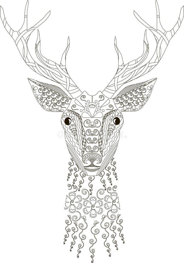Zentangle stylizował rogacz głowę, czarny i biały, ręka rysująca, wektor ilustracji