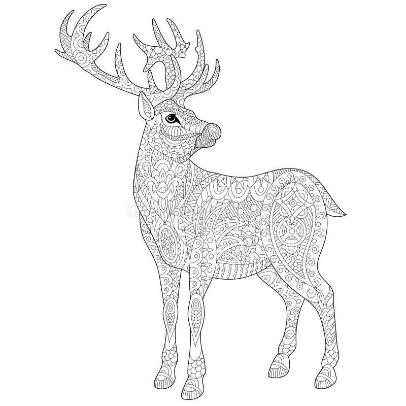 Zentangle stylizował rogacza ilustracji