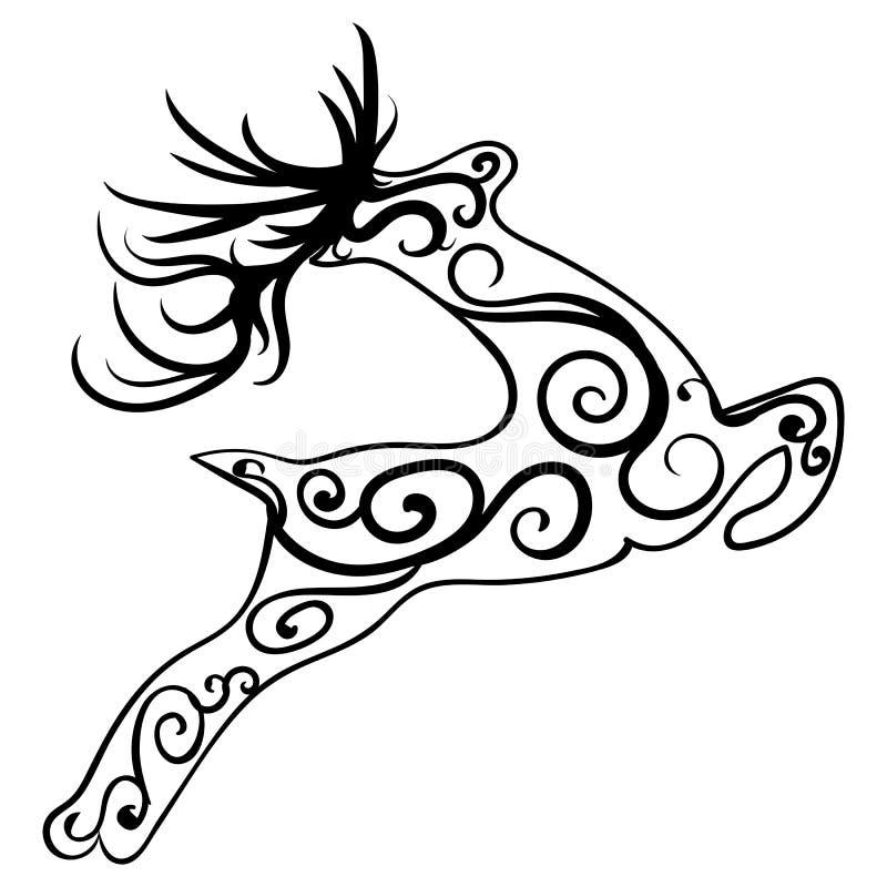 Zentangle stylizował rogacza Etniczny wzorzysty wektor royalty ilustracja